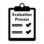 "Clipboard with checkmarks icon labeled ""Evaluation Process"""